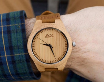 FREE Engraving, Mens Wooden Watch, Wood Watch, Engraved Wooden Watch, Mens Wood Watch, Gift for Him, Anniversary Gift, Wooden Watch, Wood