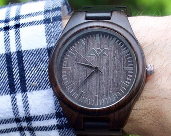 Wood Watch, Mens Wood Watch, Wooden Watch, Gift for Him, Wooden Watch, Personalized Watch, Engraved Watch, Groom Gift, Mens Wooden Watch