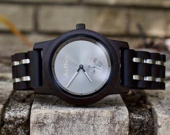 FREE Engraving, Wood Watch, Mens Wood Watch, Wooden Watch, Chronograph Watch, Mens Wooden Watch, Mens Watch, Groomsmen Gift, Wrist Watch