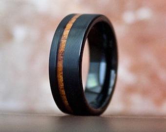Brushed Black Wood Ring, Wooden Ring for Men, Tungsten Carbide Ring, Wood Wedding Band, Koa Wood Ring, Wood Ring, Black Ring, Wedding Band