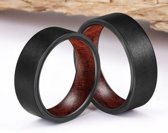 Black Tungsten Ring, Wood Engagement Ring, Tungsten Wood Ring, Wood Inlay Ring, Wood Wedding Band, Unique Wedding Ring, Mens Ring Wood