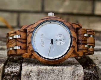 FREE Engraving, Wood Watch, Mens Wood Watch, Wooden Watch, Chronograph Watch, Mens Wooden Watch, Personalized Watch, Anniversary Gift Men