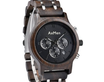 FREE Engraving, Wood Watch, Mens Wood Watch, Wooden Watch, Chronograph Watch, Mens Wooden Watch Mens Watch Groomsmen Gift Wood Watch Mens