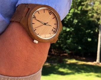 Wood Watch, Minimalist Wood Watch for Men Women, Personalized Watch, Mens Wooden Watch, Wedding, Anniversary Gift, Gift for Him, Wood Watch