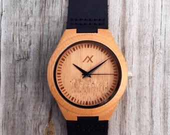 Wood Watch, Engraved Wooden Wrist Watch, Minimalist Watch, Wooden Watch, Wedding Gift, Anniversary Gift, Groomsmen Gift, Gift for Him