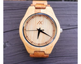 Mens Bamboo Wood Watch With Custom Engraving, Wooden Watch for Him, Gift for Him, Mens Wood Watch, Wooden Watch for Men, Wedding Gift