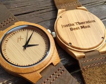 Wood Watch, Engraved Wooden Wrist Watch, Minimalist Design, Handmade for Men Women Unisex, Wedding Gift, Anniversary Gift, Groomsmen Gift