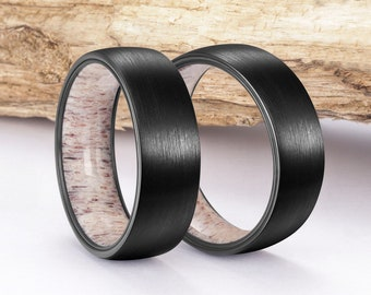 Black Antler Ring, Tungsten Carbide Ring, Mens Ring, Womens Ring, Wedding Band, Deer Antler Ring, Antler Ring, Antler Wedding Band, Deer