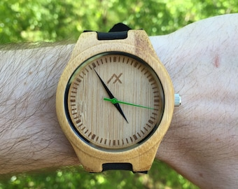 Wood Watch, Bamboo Wood Watch, Engraved Wooden Watch, Handmade for Men Women, Groomsmen Gift, Gift for Him, Mens Wooden Watch, Men wood gift