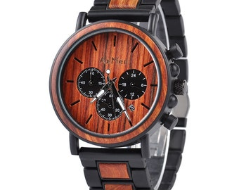 FREE Engraving, Wood Watch, Mens Wood Watch, Wooden Watch, Chronograph Watch, Mens Watch, Personalized Watch, Wedding Gift, Groom Gift, Wood