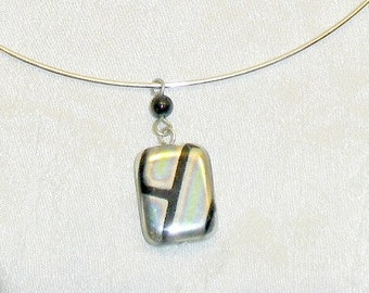 Black and Silver Rectangle Square Glass Pendant Memory Wire Choker Necklace