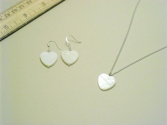 White MOP Mother of Pearl Heart Earrings and Necklace