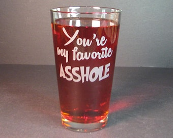 Etched glass, pint glass, beer glass, Drinking glass, personalized glass, glassware, barware