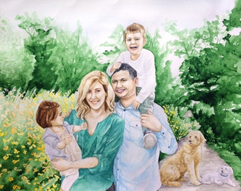 Watercolor Family Portrait - Custom Painting