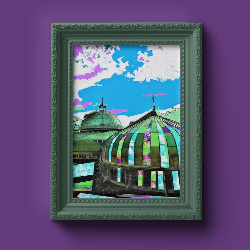 Botanic Gardens  City of Glasgow  Print  Wall Art  Purple and Green