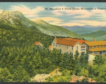Lot of Five Vintage Linen Post Cards - Mt. Mansfield and Hotel, Green Mountains of Vermont - MINT NOS