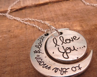 Love You to the Moon & Back Sterling Silver Necklace - Sterling Silver Chain 18 inches with Silver Dipped Charm