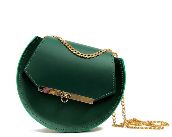 Loel mini military bee chain bag clutch in emerald green