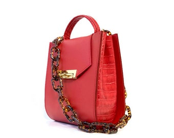 Romi Croc Embossed Bag in Saffron Red