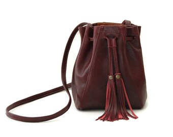 Mini Bucket Bag in Oxblood