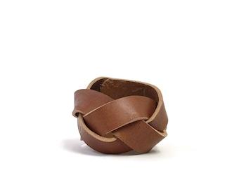Braided Leather Cuff in Saddle Tan