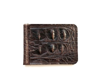 Slim & Simple money clip wallet in espresso brown leather