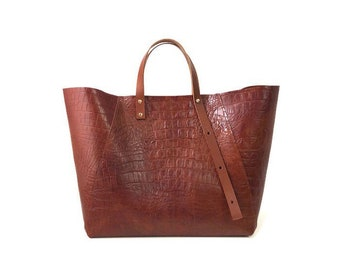 A-Line Tote Bag in Tan Croc-embossed Leather