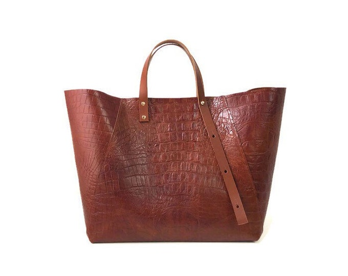 Featured listing image: A-Line Tote Bag in Tan Croc-embossed Leather