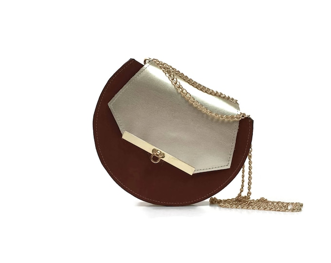Featured listing image: Loel mini military bee chain bag in cognac & gold
