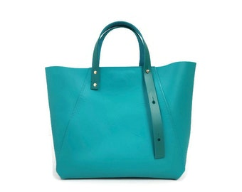A-Line leather midi tote bag in turquoise leather // market bag // work or travel bag