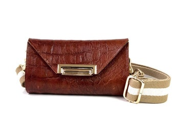 Romi Convertible Bag in Cognac Croc