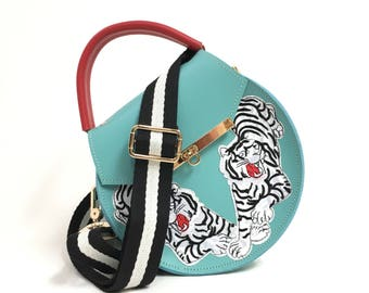 Loel Mini Embroidered Tiger Crossbody Bag / More colors