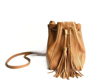 Mini Bucket Bag in Saddle Tan