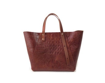 A-Line midi tote bag in tan crocodile embossed leather