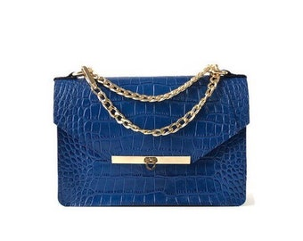 Gavi Shoulder Bag in Royal Blue Croc-embossed