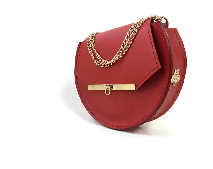 Featured listing image: Loel mini military bee chain bag in saffron red