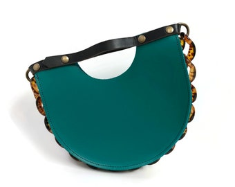 Mallory Top Handle Circle Tote Bag in Teal