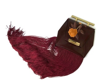 English Rose Envelope Clutch with Fringe