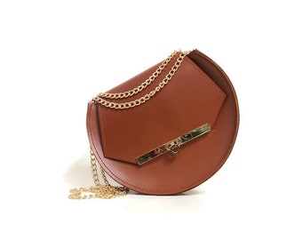 Loel mini military bee crossbody bag in chestnut
