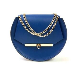 Loel mini military bee chain bag clutch in blue