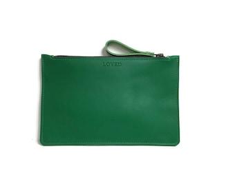Green Zipper Clutch