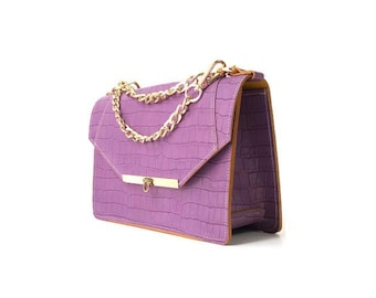 Gavi Shoulder Bag in Lilac Croc-embossed