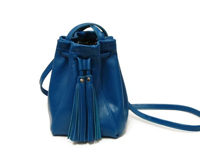 Featured listing image: Blue Leather Bucket Bag // Mini tassel drawstring bucket bag // Crossbody or shoulder bag in Lapis Blue