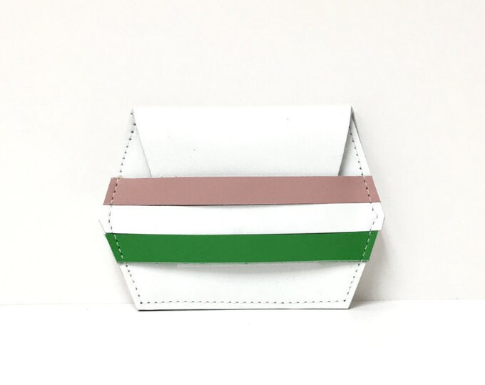Featured listing image: Leather card case // white stripe wallet // unique gift // leather wallet //  More Colors