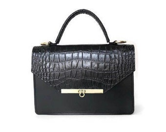 Gavi Top Handle in Black Croc-embossed