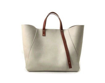 A-Line Tote Bag in Gray & Tan
