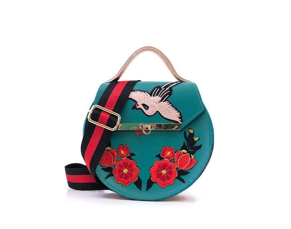 Loel mini embroidered floral crane