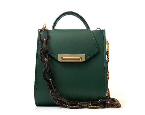 Romi Croc Embossed Leather Bag in Emerald Green