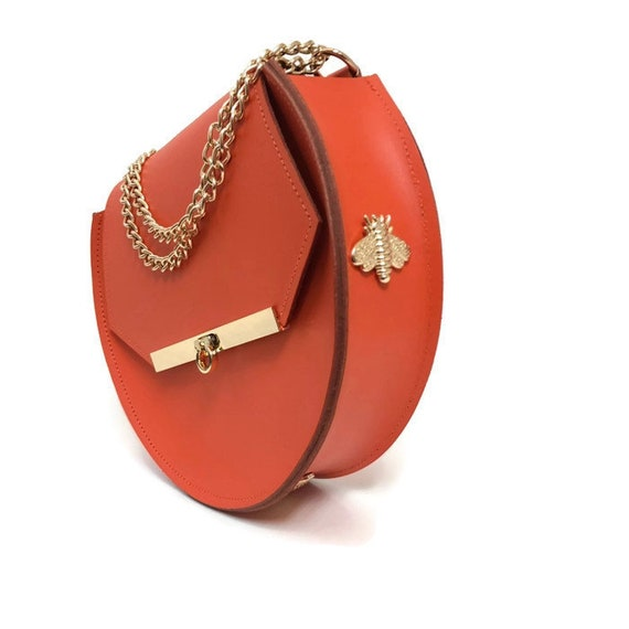 Loel mini military bee cross body bag in orange crush