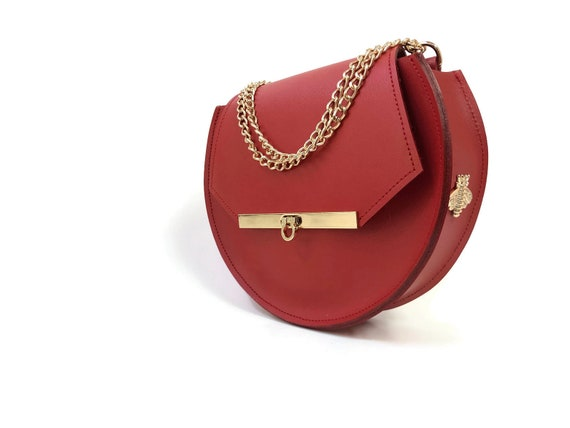 Loel Mini Military Bee Cross Body Bag in Saffron Red